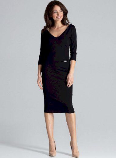 Elegantní pouzdrové šaty K476 Black Velikost: XL