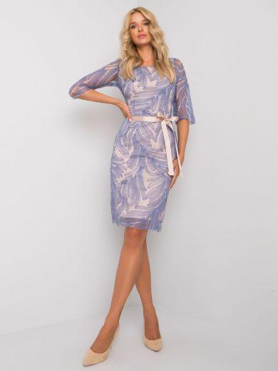 Modré elegantní krajkové šaty LK-SK-507830.49P-blue Velikost: 36