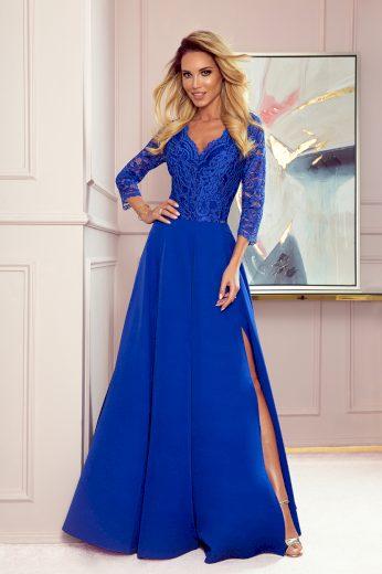 Elegantní modré krajkové dlouhé šaty s výstřihem ELISA 309-2 Velikost: M