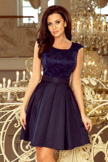 Tmavě modré elegantní šaty s krajkou MELISSA 244-2 Velikost: S