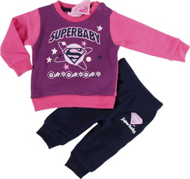 SUPER BABY RŮŽOVÁ TEPLÁKOVÁ SOUPRAVA Velikost: 67