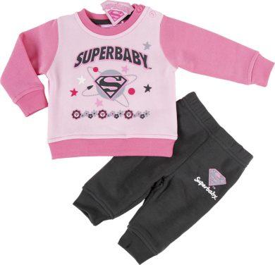 SUPER BABY DÍVČÍ SVĚTLE RŮŽOVÁ TEPLÁKOVÁ SOUPRAVA Velikost: 67