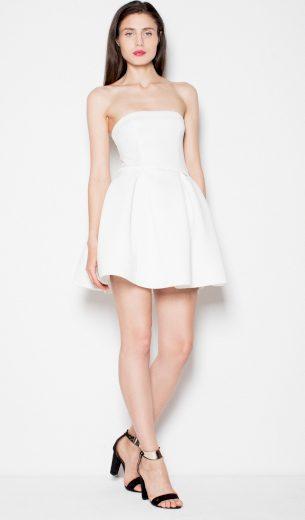 Smetanové mini šaty bez ramínek VT074 Ecru Velikost: S