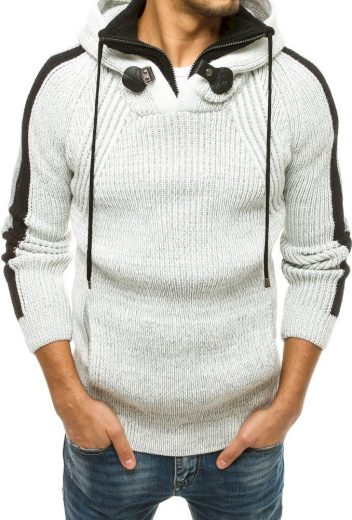 Bílo-černý pánský svetr s kapucí WX1561 Velikost: XL