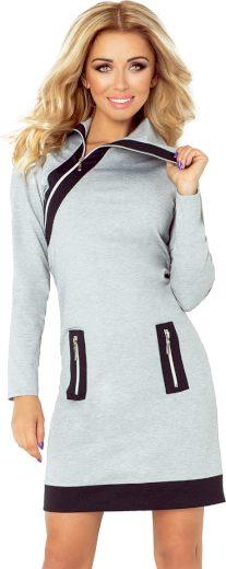 Šedé šaty s kapsami SHANNON 129-1 Velikost: XL