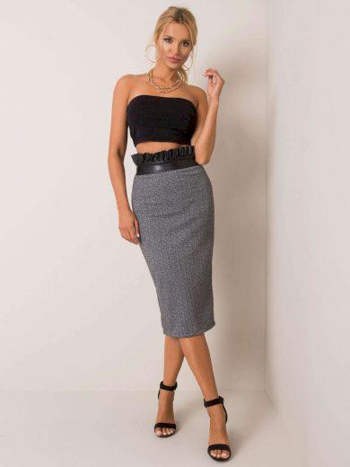 Šedá dámská sukně s černým páskem s volánkem DHJ-SD-2915.06- grey Velikost: S