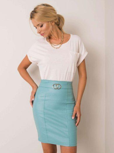 Bledě-modrá dámská sukně s páskem lesklá DHJ-SD-3029.06- blue Velikost: 2XL