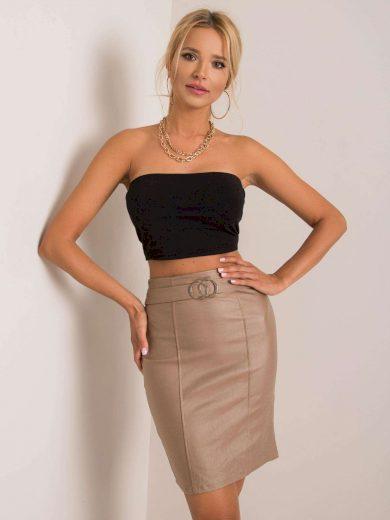 Béžová dámská sukně lesklá s ozdobnou sponou DHJ-SD-3029.06- beige Velikost: 2XL