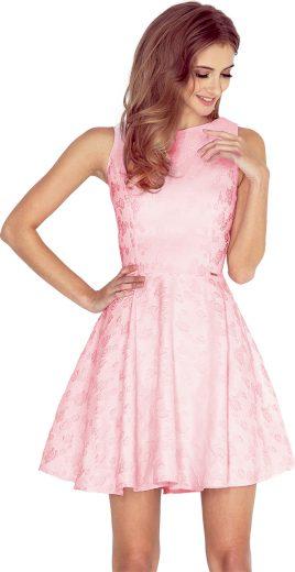 Růžové šaty s motivem růží JESSICA 125-18 Velikost: M