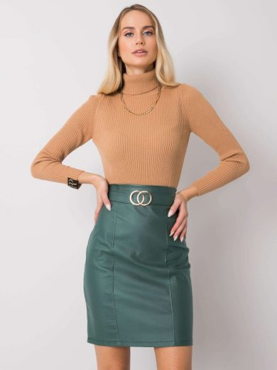 Zelená koženková sukně DHJ-SD-3029.06-green Velikost: 2XL