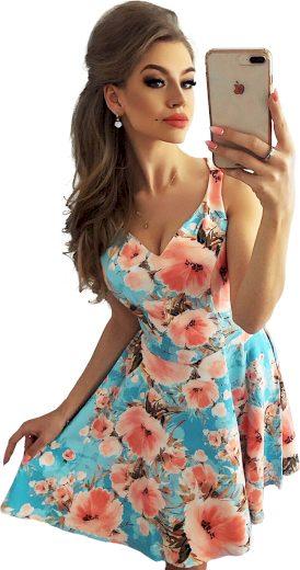 Dámské modré šaty s květy LAURENCE MM 014-9 Velikost: L