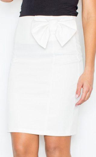 Lesklá smetanová sukně s mašlí M080 Velikost: 2XL