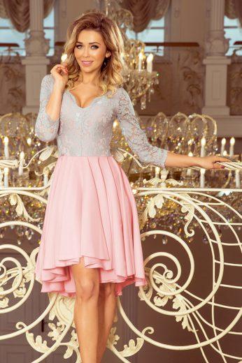 Šedo-růžové šaty s krajkovými rukávy FRANCESCA 210-5 Velikost: 2XL