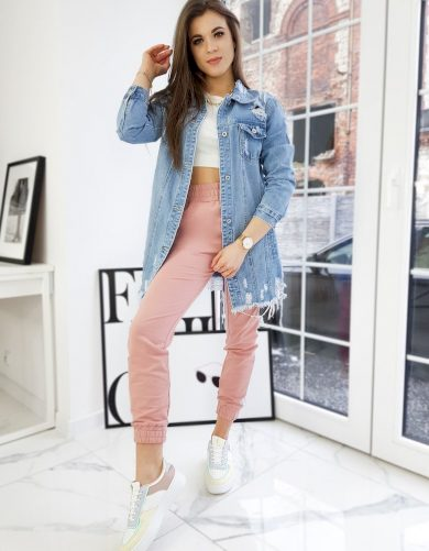 Modrá dámská dlouhá džínová bunda TY1668 Velikost: L