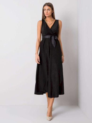 Černé dlouhé elegantní šaty s páskem TW-SK-BI-2132.84-black Velikost: ONE SIZE