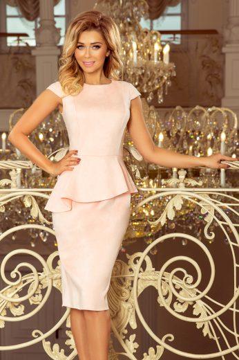 Elegantní růžové šaty s volánem VANESSA 192-8 Velikost: S