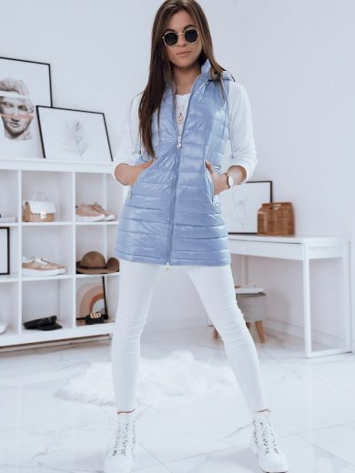 Světle modrá dámská prošívaná vesta TY1864 Velikost: M