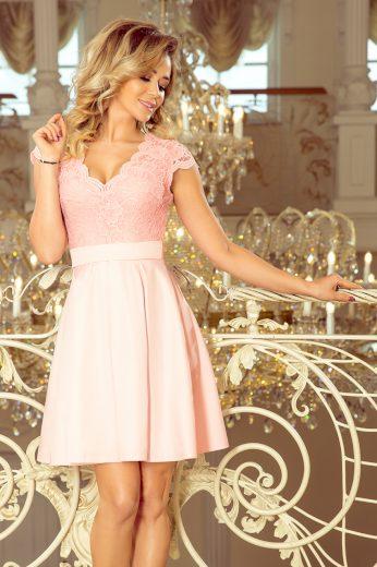 Růžové elegantní šaty s krajkou LARA 242-1 Velikost: XL