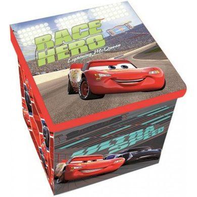 Taburet s úložným prostorem Auta - Cars - Blesk McQueen - 30 x 30 x 30 cm - nosnost 50 kg