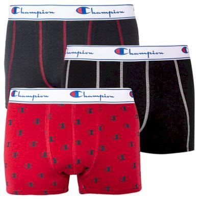 3PACK pánské boxerky Champion červené s logem (Y081W) XL