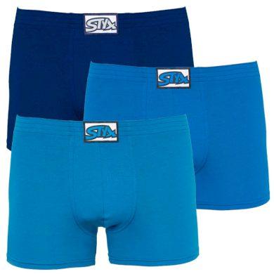 3PACK pánské boxerky Styx long klasická guma modré (F9676869) XXL