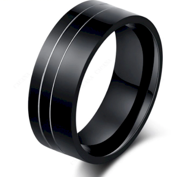 Černý prsten z chirurgické oceli Double Line SR000083