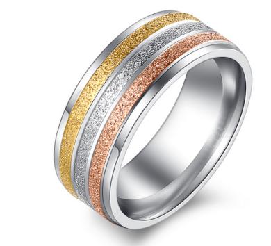 Dámský prsten z pískované chirurgické oceli- Tricolor SR000034