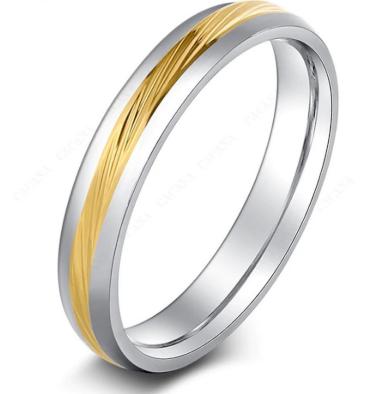 Decentní prsten stříbrný se zlatým rýhováním z chirurgické oceli SR000086