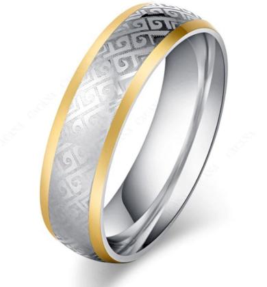 Masivní prsten z chirurgické oceli z ornamenty SR000088