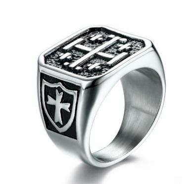 Pánský prsten s kříži z masivní chirurgické oceli SR000058