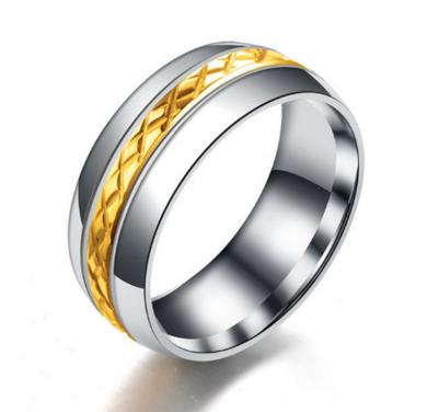 Pánský prsten z broušené chirurgické oceli střibrnozlatý SR000076