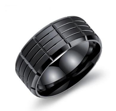 Pánský prsten z chirurgické oceli- černý Army SR000020