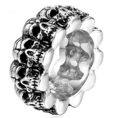 Prsten s lebkami z chirurgické oceli- SKULL SR149
