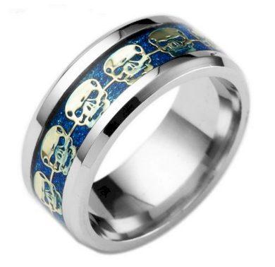 Prsten s lebkami z chirurgické oceli- stříbrnomodry SR139