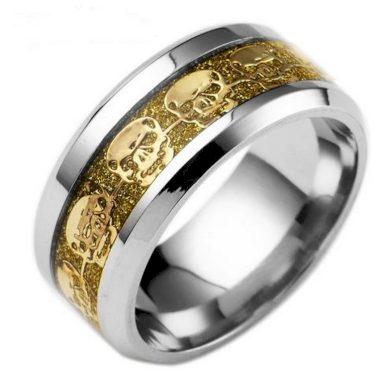 Prsten s lebkami z chirurgické oceli- stříbrnozlatý SR140
