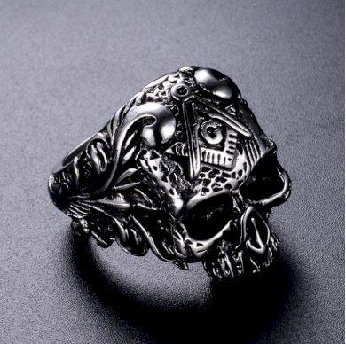 Prsten s lebkou a symbolem svobodných zednářů- stříbrný SR133