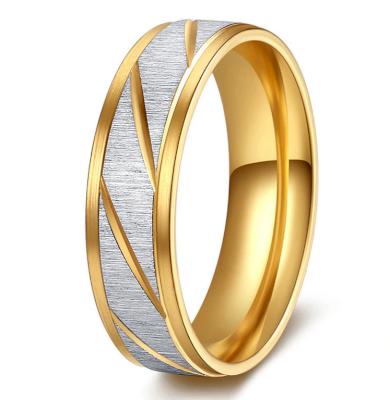 Prsten z broušené chirurgické oceli Stripy- zlatý SR000105
