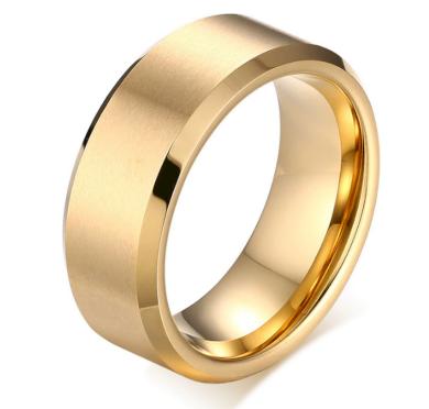 Prsten z broušené chirurgické oceli zlatý SR000073