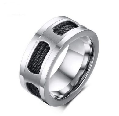Prsten z chirurgické oceli a černého lanka z chirurgické oceli SR143
