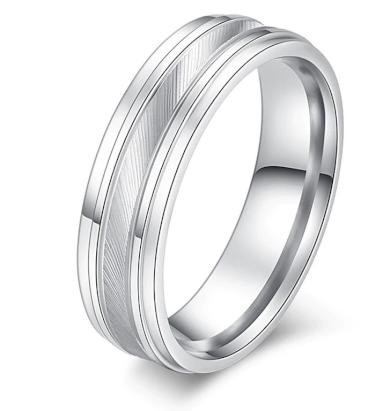Prsten z chirurgické oceli Double-line Diagonal  SR000101