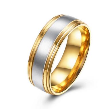 Prsten z chirurgické oceli Duo- stříbrnozlatý SR000018