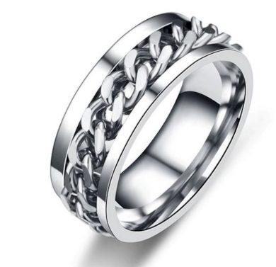 Prsten z chirurgické oceli s řetězem- stříbrný SR126