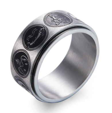 Prsten z chirurgické oceli se znaky rodů Games of Thrones-Hra o trůny SR000064