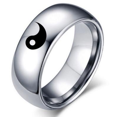 Prsten z chirurgické oceli stříbrný Jin Jang SR000070