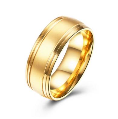 Prsten z chirurgické oceli- Gold SR000019