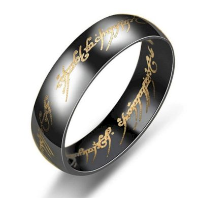 Prsten z chirurgické oceli- Pán prstenů- Lord of the Rings- černý SR124