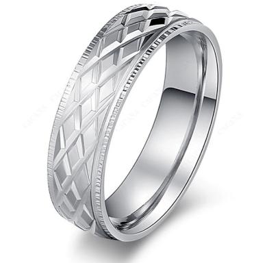 Prsten z chirurgické oceli- stříbrný- rýhovaný SR000084