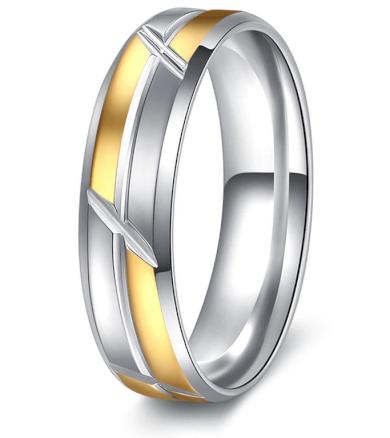 Stříbrnozlatý prsten Mixed colour Sharp z chirurgické oceli SR000103