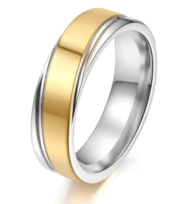 Střibrnozlatý prsten z chirurgické oceli Twisted SR000117