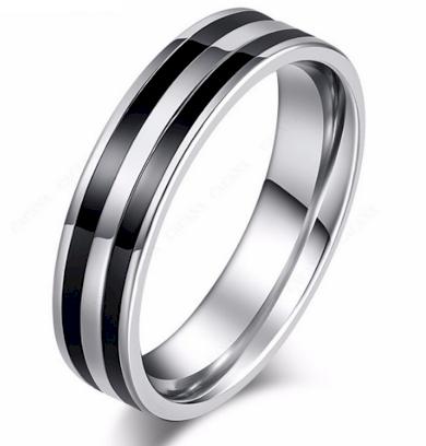 Stříbrný prsten Double black line z chirurgické oceli SR000091